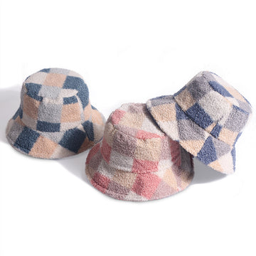 Winter Women Warm Lambswool Plaid Hat