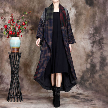 Winter Wool Stitching Plaid Cardigan Coat
