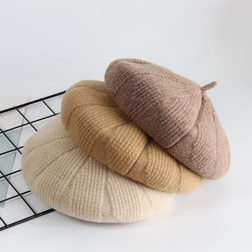 Winter Wool Warm Woven Solid Color Berets