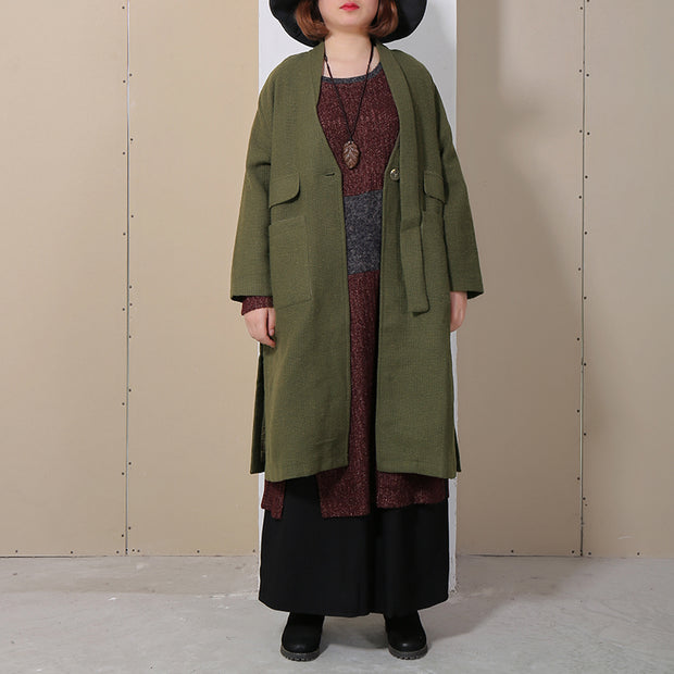 Winter Autumn Women Long Sleeve Side Slit Green Coat