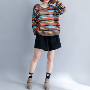 Winter Casual Cotton Acrylic Striped Knitting Cotton Sweater