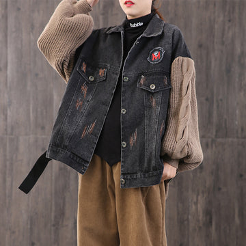 Winter Casual Knitting Stitching Denim Coat