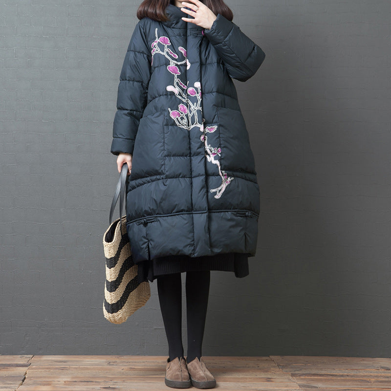 Winter Casual Plant Printed Thermal Down Coat
