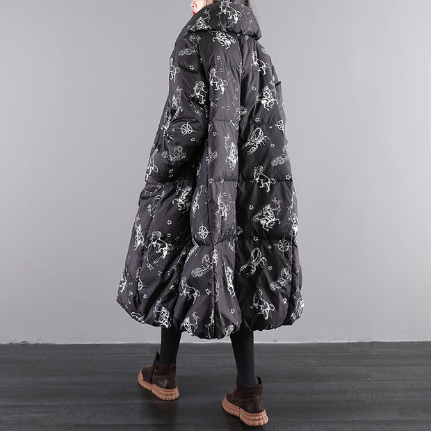 Winter Casual Prints Lacing Loose Down Coat