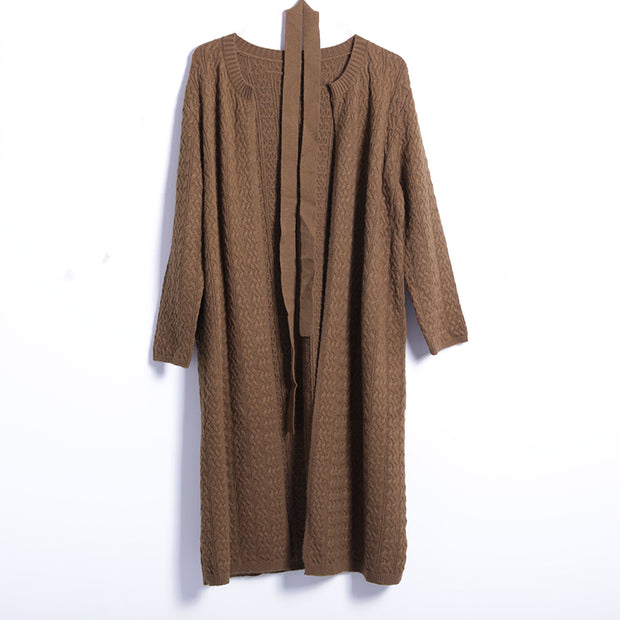 Winter Casual Solid Cardigan X-Long Long Sleeve Coat