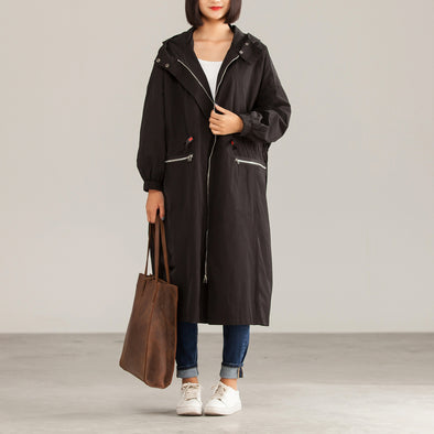 Winter Cotton Polyester Solid Black Hooded Loose Trench