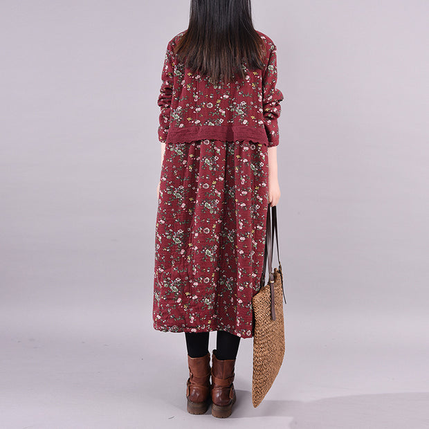 Winter Floral Plus Velvet Casual Dress