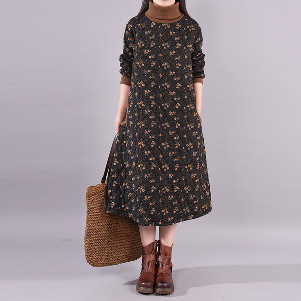 Winter Floral Printed Casual Padded Dress