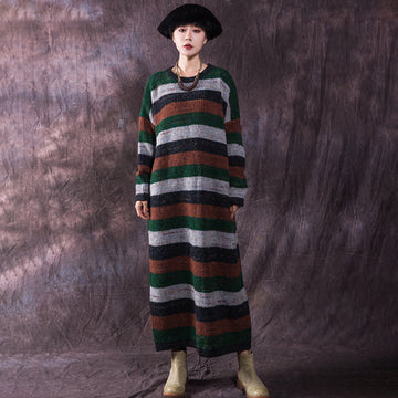Winter New Long Sleeve Striped Knit Dress