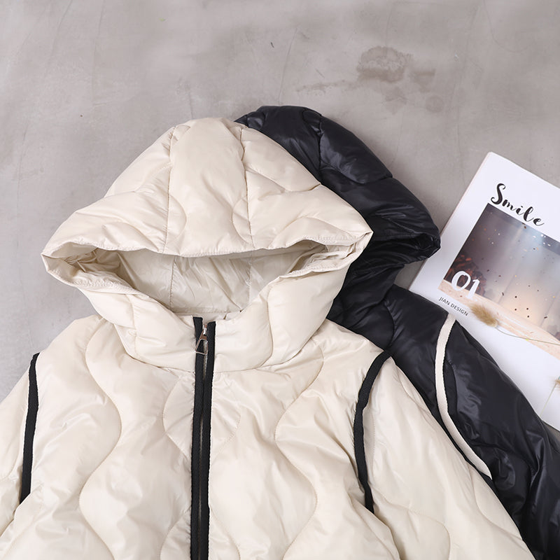Winter New Pure Color Hooded Down Coat