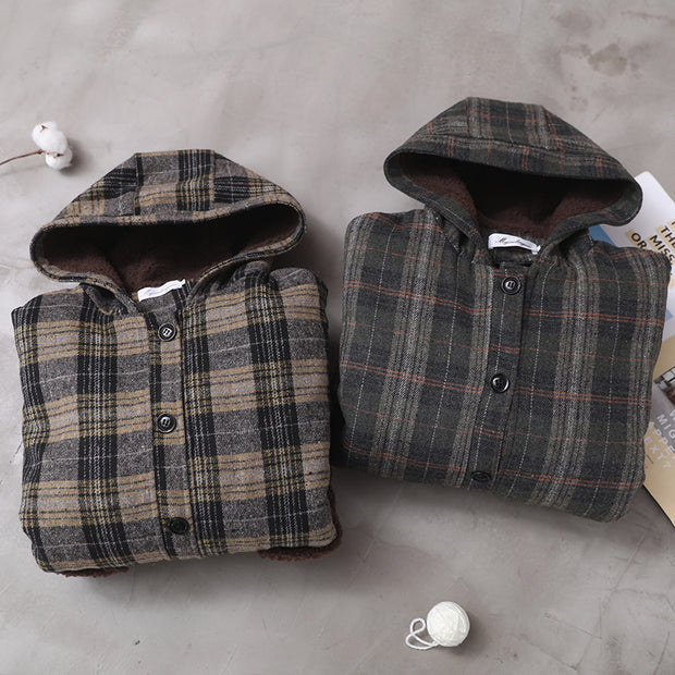 Winter Patchwork Plaid Lambswool Coat