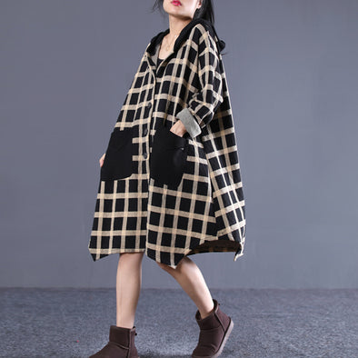 Winter Plaid Hooded Single Breasted Dress