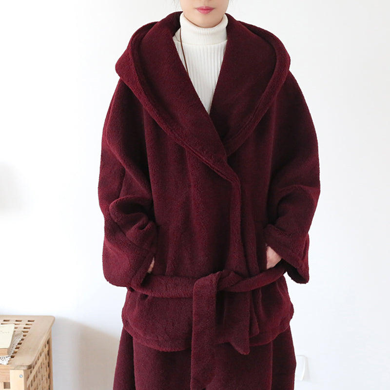 Winter Pure Color Belt Warm Woolen Coat