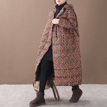 Winter Rhombus Printed Long Hooded Down Coat