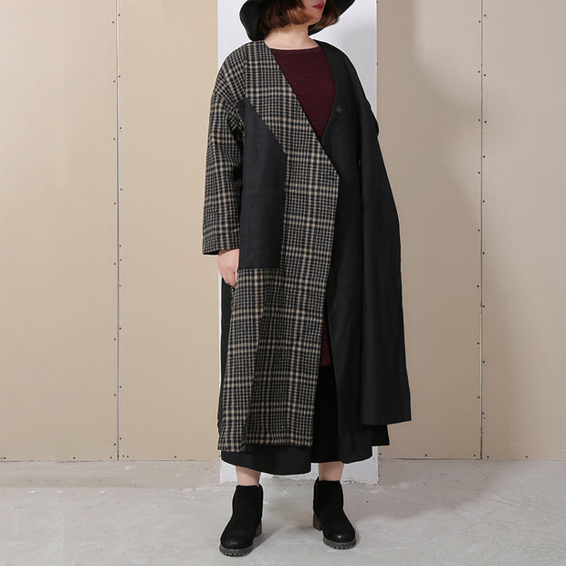 Winter Spliced Long Sleeve Lattice Women Coat