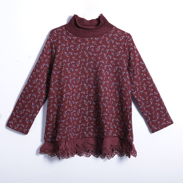 Winter Vintage Floral Pullover Regular Long Sleeve Sweatshirt