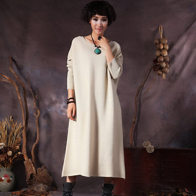 Winter Vintage Viscose O-neck Straight Sweater Dress