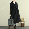 Women Autumn Winter Lapel Open-Front Long Sleeve Lacing Long Coat