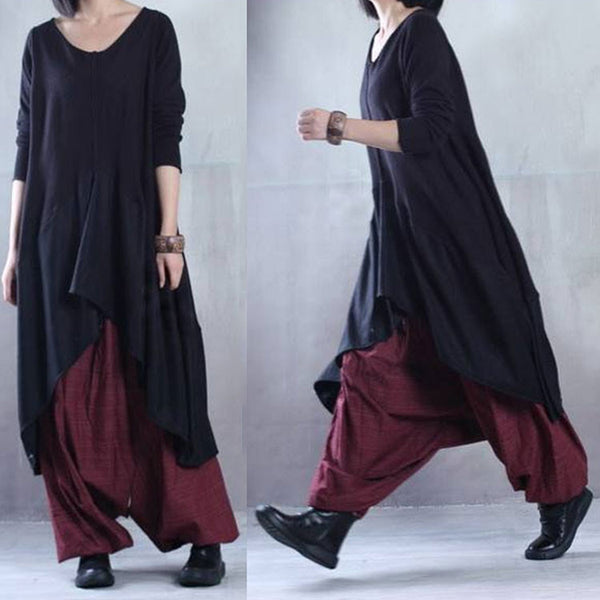 Women Cotton Knitted Irregular Plus Size Loose Fitting Dress