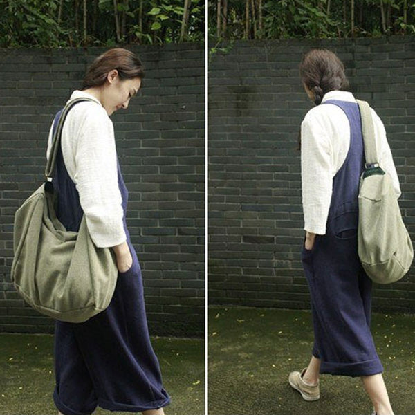 Women cotton linen backpack