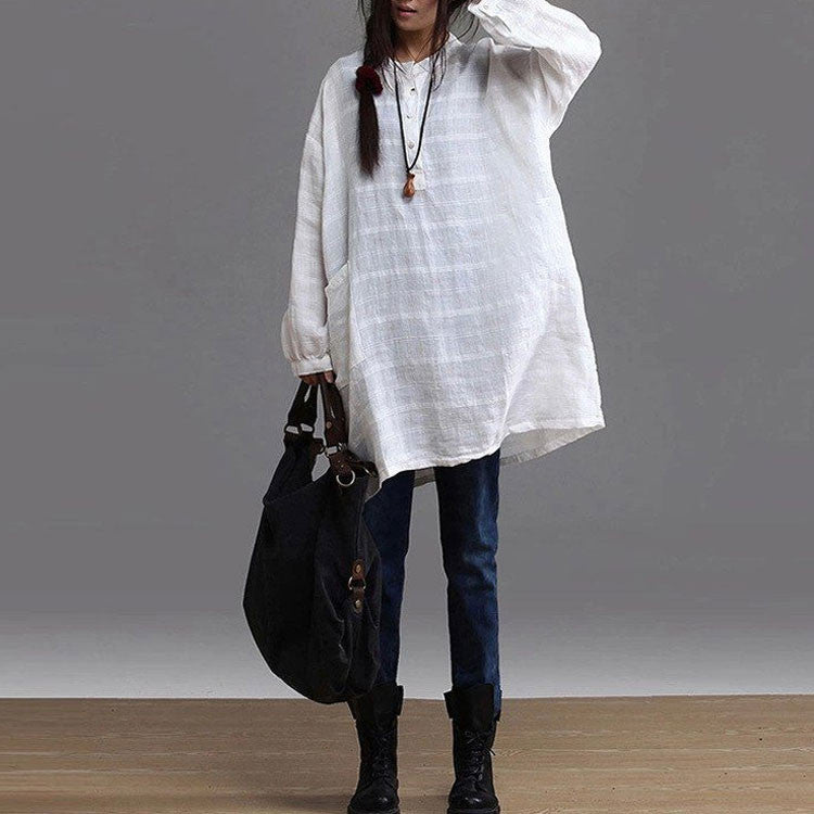 Women cotton  linen long-sleeved shirt