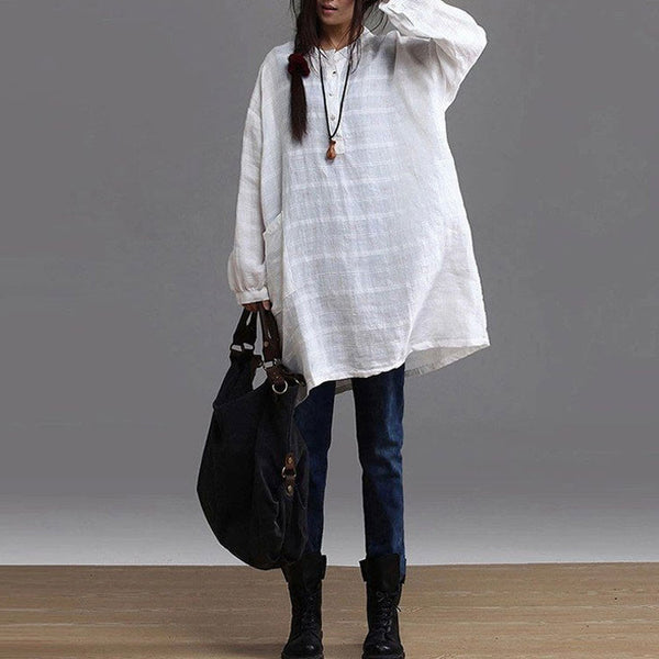 Women cotton  linen long-sleeved shirt - Buykud
