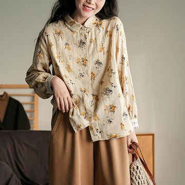 Women 100% Cotton Casual Loose Floral Shirt