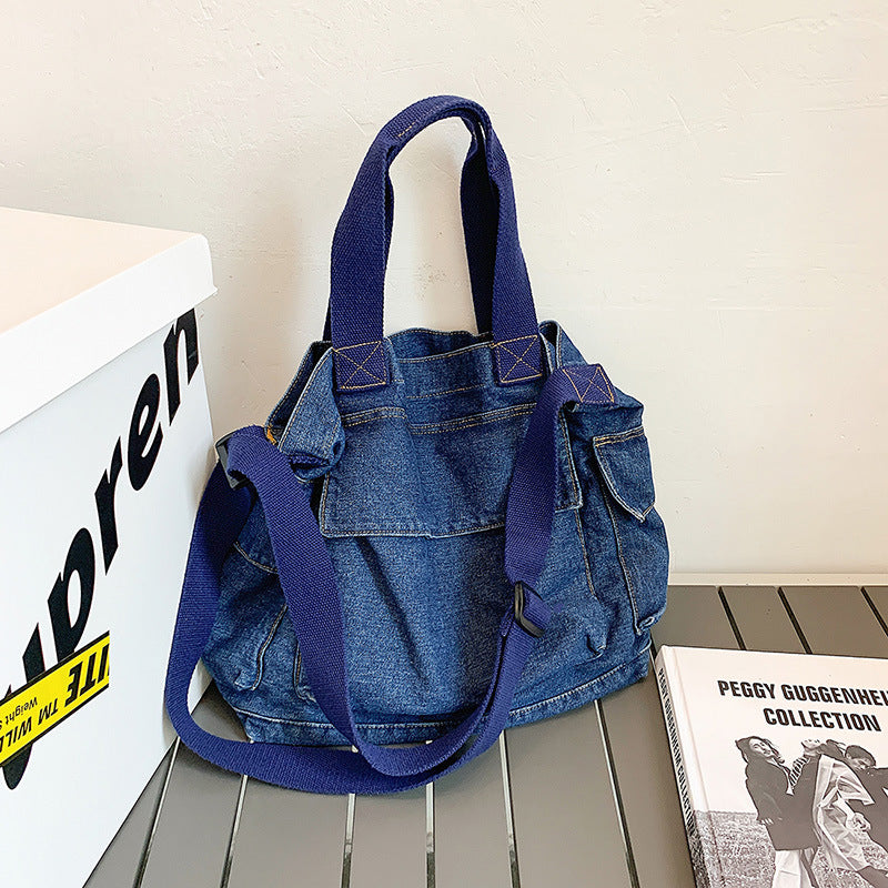 Women Adjustable Strap Denim Shoulder Bag