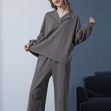 Women Autumn Casual Pure Color Pajamas