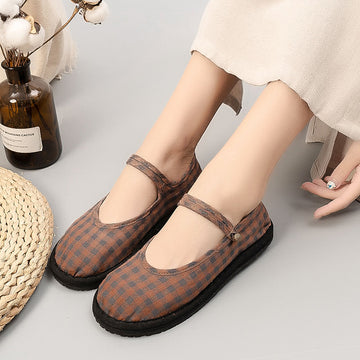 Women Autumn Cotton Plaid Flat Shoes