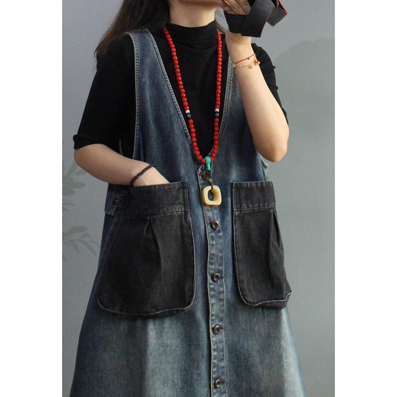 Women Autumn Loose Denim Sleeveless Dress