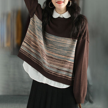 Women Autumn Loose Knitted Striped Sweater
