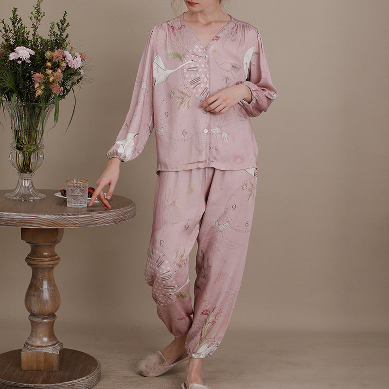 Women Autumn Print V-neck Pajamas