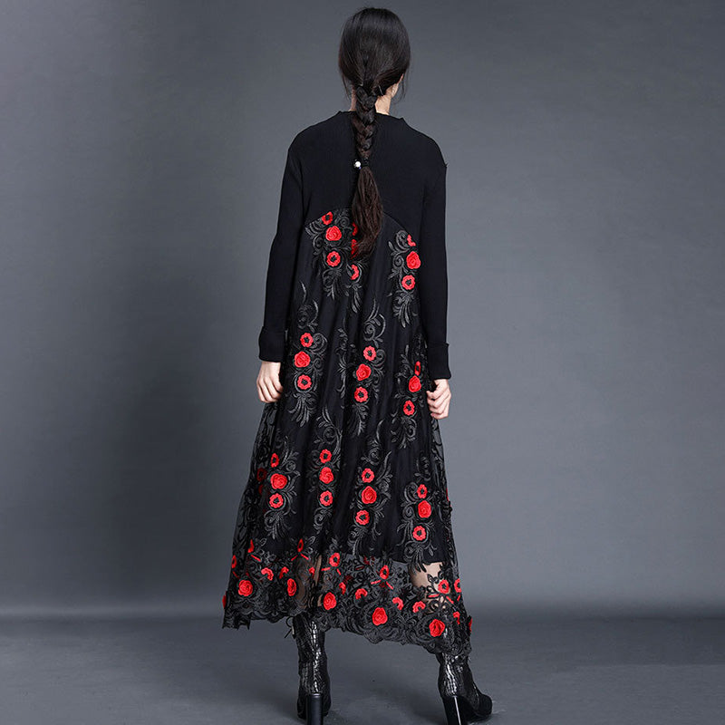 Women Autumn Retro Flower Embroidered Dress