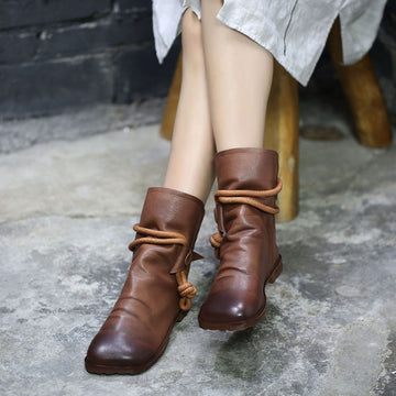 Women Autumn Rope Pure Color Leather Boots