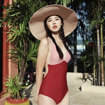 Women Beach Color Contrast Casual Summer Swimsuit