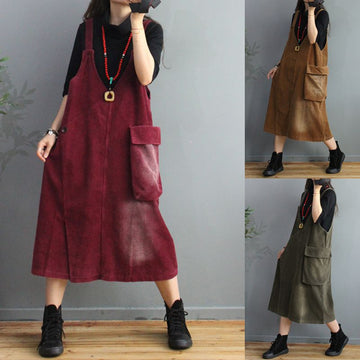 Women Big Pocket Corduroy Sling Dress