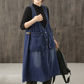 Women Big Pocket Denim Sleeveless Dress