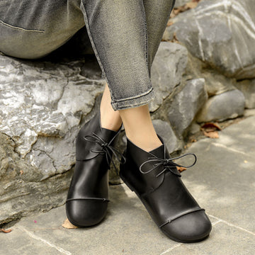 Women Black Wild Leather Flat Short Boots