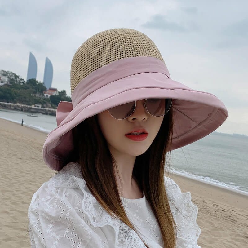 Women Bowknot Design Folded Sunscreen Hat