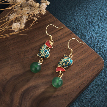 Women Carp Inlaid Chalcedony Earrings
