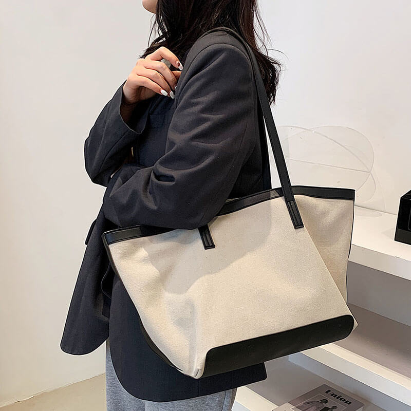 Women Casual Canvas Color Contrast Shoulder Bag
