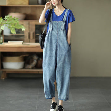 Women Casual Denim Cotton Button Jumpsuits Dungarees