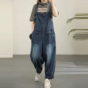 Women Casual Denim Loose Jumpsuit Dungarees