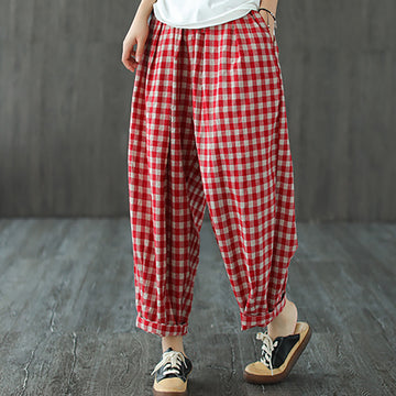 Women Casual Drawstring Pocket Plaid Pants