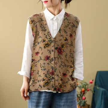 Women Casual Floral Knitted Loose Breasted Vest