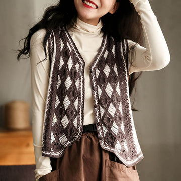 Women Casual Hollow Rhombus Loose Knitted Vest