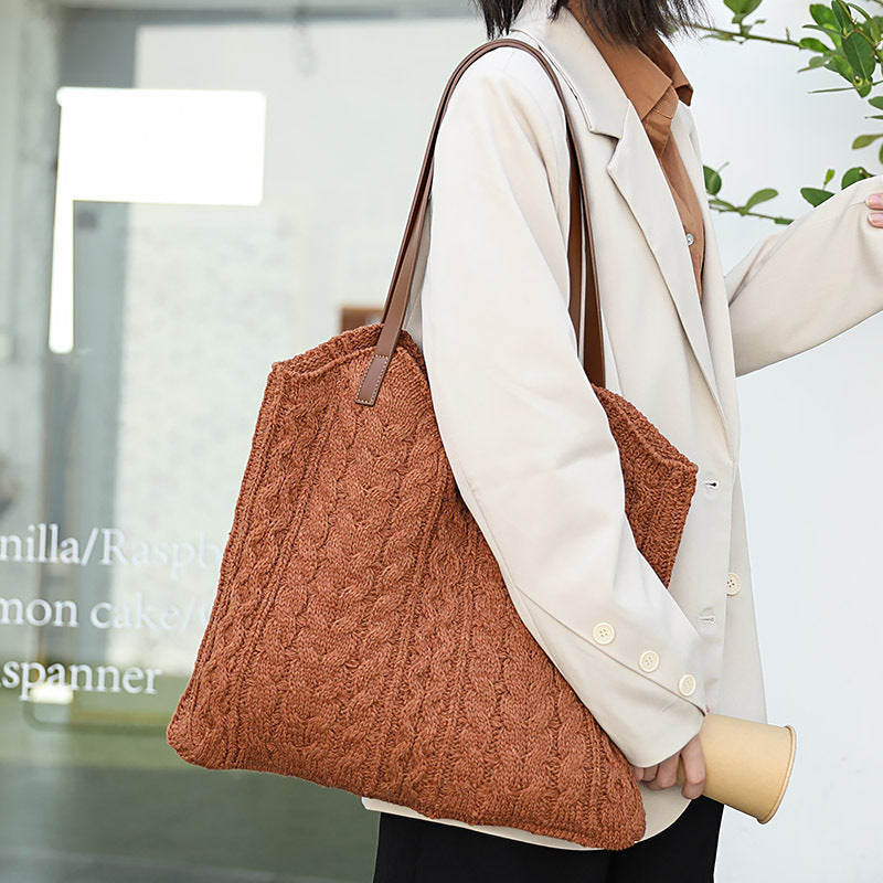 Women Casual Knitted Casual Shoulder Bag