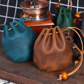 Women Casual Leather Drawstring Bag