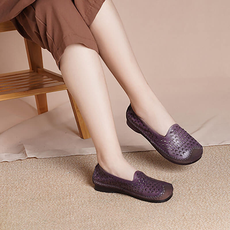 Women Casual Leather Simple Hollow Shoes